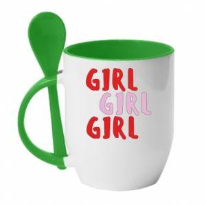 Kubek z ceramiczną łyżeczką Girl girl girl