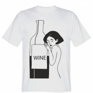 T-shirt Girl hugging a bottle of wine