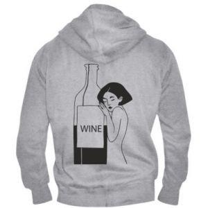 Men's zip up hoodie Girl hugging a bottle of wine - PrintSalon