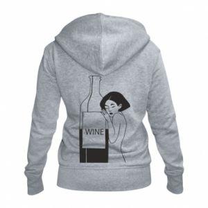 Women's zip up hoodies Girl hugging a bottle of wine - PrintSalon