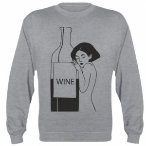 Sweatshirt Girl hugging a bottle of wine - PrintSalon