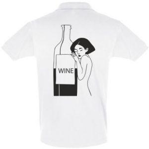 Men's Polo shirt Girl hugging a bottle of wine - PrintSalon