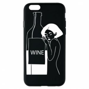Phone case for iPhone 6/6S Girl hugging a bottle of wine - PrintSalon