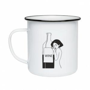 Enameled mug Girl hugging a bottle of wine - PrintSalon