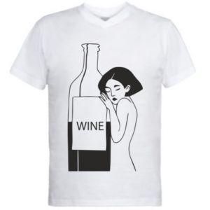 Men's V-neck t-shirt Girl hugging a bottle of wine - PrintSalon