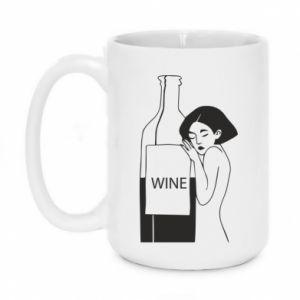 Mug 450ml Girl hugging a bottle of wine - PrintSalon