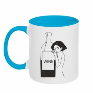 Two-toned mug Girl hugging a bottle of wine