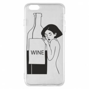 Phone case for iPhone 6 Plus/6S Plus Girl hugging a bottle of wine - PrintSalon
