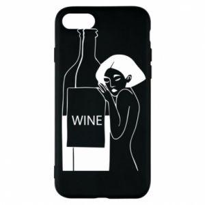 Phone case for iPhone 7 Girl hugging a bottle of wine - PrintSalon