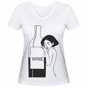 Women's V-neck t-shirt Girl hugging a bottle of wine - PrintSalon