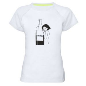 Women's sports t-shirt Girl hugging a bottle of wine - PrintSalon