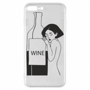 Phone case for iPhone 7 Plus Girl hugging a bottle of wine - PrintSalon