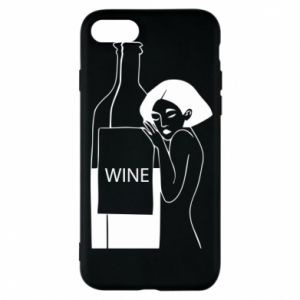Phone case for iPhone 8 Girl hugging a bottle of wine - PrintSalon