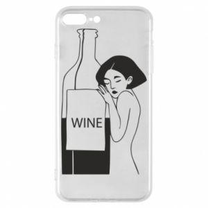 Phone case for iPhone 8 Plus Girl hugging a bottle of wine - PrintSalon