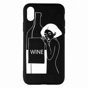Phone case for iPhone X/Xs Girl hugging a bottle of wine - PrintSalon