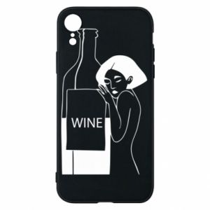 Phone case for iPhone XR Girl hugging a bottle of wine - PrintSalon