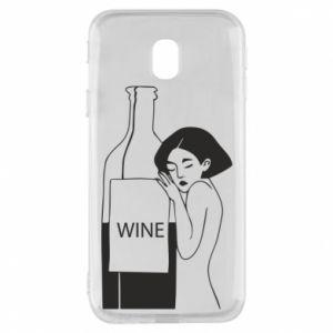 Phone case for Samsung J3 2017 Girl hugging a bottle of wine - PrintSalon