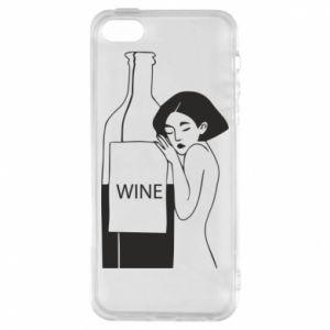 Phone case for iPhone 5/5S/SE Girl hugging a bottle of wine - PrintSalon