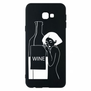 Phone case for Samsung J4 Plus 2018 Girl hugging a bottle of wine - PrintSalon