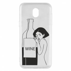 Phone case for Samsung J5 2017 Girl hugging a bottle of wine - PrintSalon
