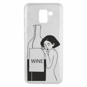 Phone case for Samsung J6 Girl hugging a bottle of wine - PrintSalon
