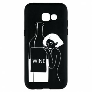 Phone case for Samsung A5 2017 Girl hugging a bottle of wine - PrintSalon