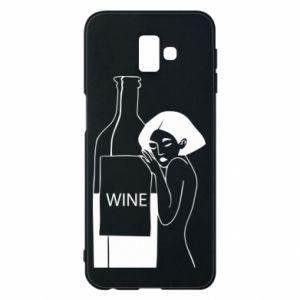 Phone case for Samsung J6 Plus 2018 Girl hugging a bottle of wine - PrintSalon