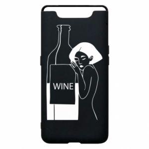 Phone case for Samsung A80 Girl hugging a bottle of wine - PrintSalon