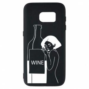 Phone case for Samsung S7 Girl hugging a bottle of wine - PrintSalon