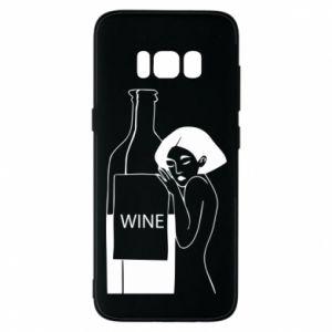 Phone case for Samsung S8 Girl hugging a bottle of wine - PrintSalon