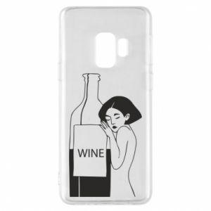 Phone case for Samsung S9 Girl hugging a bottle of wine - PrintSalon
