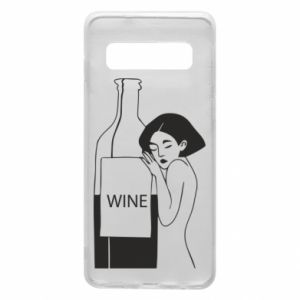 Phone case for Samsung S10 Girl hugging a bottle of wine - PrintSalon