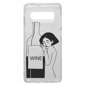 Phone case for Samsung S10+ Girl hugging a bottle of wine - PrintSalon