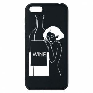 Phone case for Huawei Y5 2018 Girl hugging a bottle of wine - PrintSalon