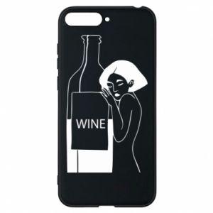 Phone case for Huawei Y6 2018 Girl hugging a bottle of wine - PrintSalon