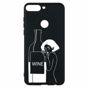 Phone case for Huawei Y7 Prime 2018 Girl hugging a bottle of wine - PrintSalon