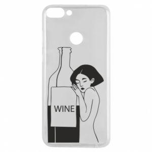 Phone case for Huawei P Smart Girl hugging a bottle of wine - PrintSalon