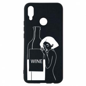 Phone case for Huawei P Smart Plus Girl hugging a bottle of wine - PrintSalon