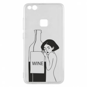 Phone case for Huawei P10 Lite Girl hugging a bottle of wine - PrintSalon
