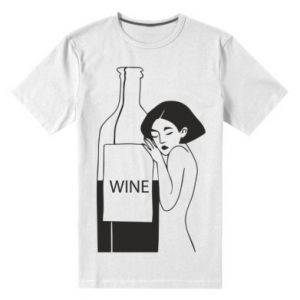 Men's premium t-shirt Girl hugging a bottle of wine - PrintSalon
