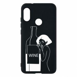 Phone case for Mi A2 Lite Girl hugging a bottle of wine - PrintSalon