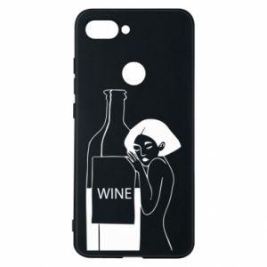 Phone case for Xiaomi Mi8 Lite Girl hugging a bottle of wine - PrintSalon