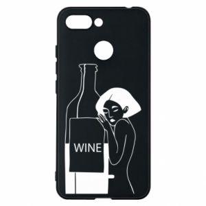 Phone case for Xiaomi Redmi 6 Girl hugging a bottle of wine - PrintSalon