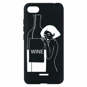Phone case for Xiaomi Redmi 6A Girl hugging a bottle of wine - PrintSalon