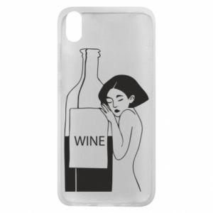 Phone case for Xiaomi Redmi 7A Girl hugging a bottle of wine - PrintSalon