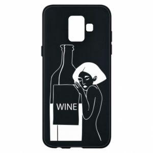 Phone case for Samsung A6 2018 Girl hugging a bottle of wine - PrintSalon