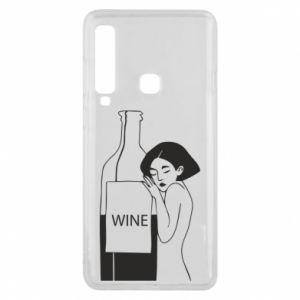 Phone case for Samsung A9 2018 Girl hugging a bottle of wine - PrintSalon
