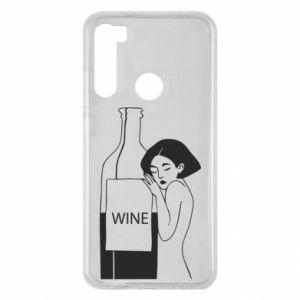 Etui na Xiaomi Redmi Note 8 Girl hugging a bottle of wine