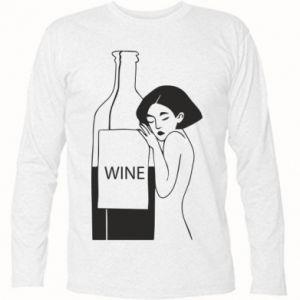 Long Sleeve T-shirt Girl hugging a bottle of wine - PrintSalon
