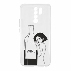 Etui na Xiaomi Redmi 9 Girl hugging a bottle of wine